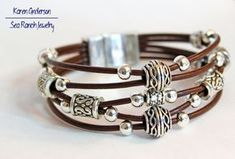 "The ""Basket Weave"" Beaded Leather Stack Bracelet | Silver Tribal Beads | 11 Colors | Tribal Bracelet | Ethnic Bracelet | Bohemian Bracelet"