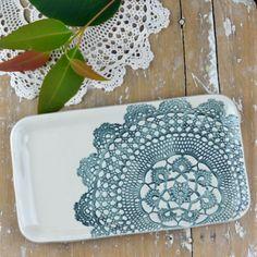 Elodie pattern ~ medium platter in Inky Blue by Kim Wallace
