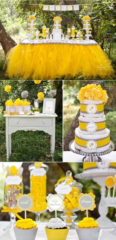 Gray & Yellow Dandelion Baby Shower. Gender neutral. Love that yellow tulle table skirt. Outdoor party with so many CUTE IDEAS!