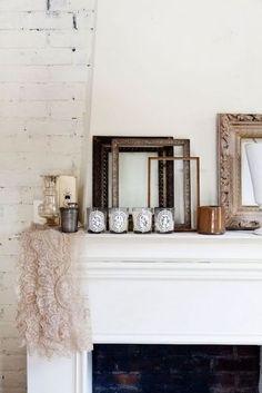 bougies cheminée cadre white decor décoration lifestyle antique rustic