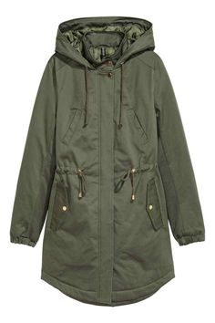 Long, padded parka in cotton twill with a drawstring hood, stand-up collar with a press-stud, zip and flap with press-studs at the front, elastication at th Khaki Jacket, Cotton Jacket, Vest Jacket, Hooded Jacket, Green Parka Coat, Long Parka Coats, Dark Khaki, Khaki Green, Anorak