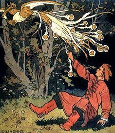 """No folclore russo, o Pássaro de Fogo (em russo, жар-птица, zhar-ptitsa, de птица, """"pássaro"""" em russo antigo e жар, """"fogo""""; firebird, em inglês) é uma ave mágica de uma terra distante, que é tanto uma bênção quanto uma maldição para quem a captura. O zhar-ptitsa é descrito como uma grande ave de plumagem majestosa que flameja em luzes vermelhas, amarelas e alaranjadas como uma fogueira. As penas continuam a flamejar se forem tiradas e uma pena pode iluminar um grande salão se não for..."""