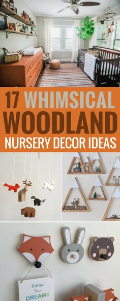 Decor Ideas for a Whimsical Woodland Nursery, Rustic Ideas that are gender neutral and feature many forest friends, fox, mountain, hunting