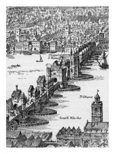 Old London Bridge – Elizabethan drawing. Old London Bridge – Elizabethan drawing … Victorian London, Vintage London, Victorian Photos, London History, Tudor History, British History, Asian History, Ancient History, London Pictures