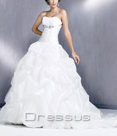 Cheap Strapless Beadings Long Wedding Dress Vintage Style