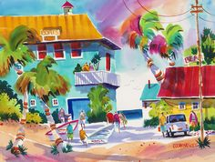 """Sand Bar"" Unforgettable Beach Watercolor Print by Ellen Negley #southflorida #palmbeach #sandbarl #beach #beaches #florida #artdisplay #artgalleries #localart #floridapaintings #southfloridapics"