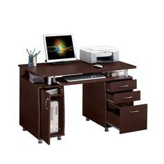 The Modern Designs multifunctional desk will add instant appeal to your home office space. Constructed of MDF in a brown finish, this elegant desk with three drawers and accessory storage cabinet is ideal to store and organize all your office needs. Home Office Computer Desk, Computer Workstation, Der Computer, Home Office Furniture, Pc Desk, Furniture Decor, Small Computer, Computer Shelf, Computer Armoire