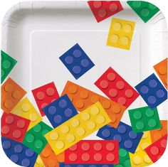 Block Party Square Paper Plates, perfect for a Lego themed birthday party these Building Block themed Paper Plates, Cups & Napkins in stock FREE Delivery Lego Party Supplies, Discount Party Supplies, Online Party Supplies, Asheville, Block Party Desserts, Party Plates, Dessert Plates, Lego Birthday Party, Birthday Ideas