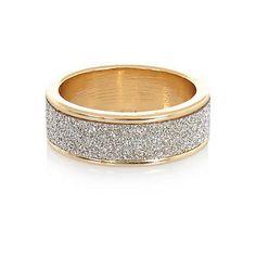 Gold tone glitter midi ring €4.00