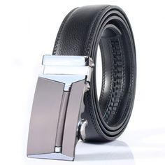 Polished Rectangle Automatic Buckle Stylish Wide Belt