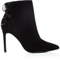 Charles David Catherine Pointed Toe High Heel Booties ($295) ❤ liked on Polyvore featuring shoes, boots, ankle booties, leather booties, lace-up ankle booties, high heel boots, lace up booties and charles david boots