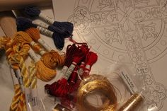 Ecclesiastical Sewing Hand Embroidery Project for Easter Pulpit Fall to be done in silk floss and goldwork threads