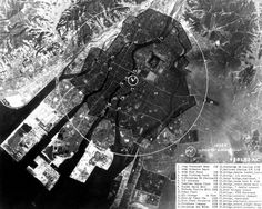 Hiroshima-An image annotated by the U.S. Air Force shows the area devastated by the bomb, indicated by the black surface inside the circle.