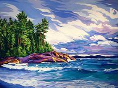 Autumn on Lake Superior, oil on canvas, x Watercolor Landscape, Landscape Art, Landscape Paintings, Flower Watercolor, Landscapes, Canadian Painters, Canadian Artists, Group Of Seven Paintings, Winter Painting