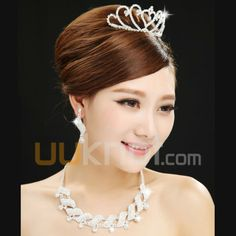 Alloy Wedding Jewelry Set Including Tiara, Earrings, Necklace With Rhinestone - UUknot.com
