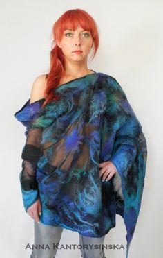 nuno felted silk scarf shawl wrap BAIKAL handmade art to wear, silk wool scarf,  nuno felt, eco fashion by Kantorysinska