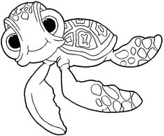 How to draw Squirt the Turtle from Finding Nemo with easy step by step drawing tutorial