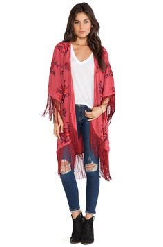 Free People Floral Embroidered Kimono in Red