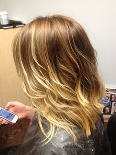 Ombre' blonde, long bob haircut. Styling ease, low maintenance, golden blonde, L'oreal bronde.