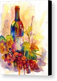 Watercolor Wine Canvas Print by Peggy Wilson. All canvas prints are…