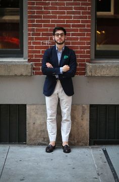 Shop this look for $142:  http://lookastic.com/men/looks/tassel-loafers-and-chinos-and-longsleeve-shirt-and-blazer-and-pocket-square/2147  — Dark Brown Leather Tassel Loafers  — White Chinos  — Light Blue Longsleeve Shirt  — Navy Blazer  — Green Silk Pocket Square