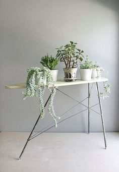 vintage toy ironing board as plant stand from oh, albatross.