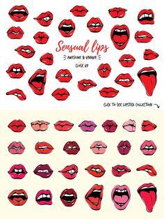 Passion Lips Pack+Love Illustration - Graphics - 2