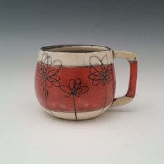 Ceramic Mug Floral Pattern Pottery Cup by whitneysmith on Etsy
