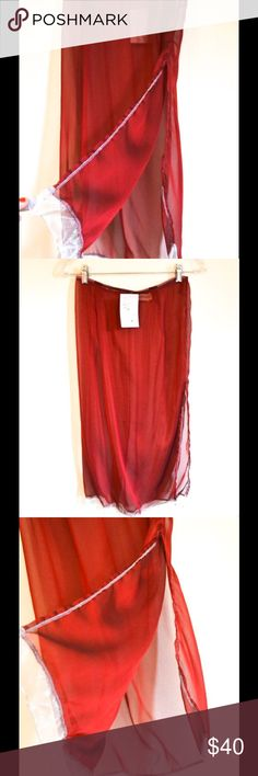 NWT Festival Boho Designer sheer skirt layering Tags still on! This is circa Y2K, and is Originals by dsmalhan, 100% viscose. $129, and was purchased New by me at Tuni's in my good old hometown of Winter Park, Fl.  Dry clean only. Most delicious shimmery deep crimson with glorious pale silver trim. Trim has wiring so it can be molded. Waist is 26, and is elastic. Let's say 28 max. 30 inches long, 16+ inch slit on left side. Photos do not do justice. Fabric is divine! Safely stored in Home…