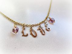 Love Romantic charm necklace  antiqued brass by GBILOBA on Etsy, €15.50