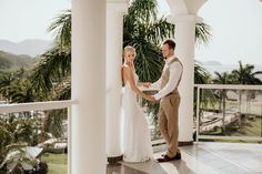 Bride and groom on a balcony overlooking the ocean in Costa Rica. Award winning wedding photographers   Elfreda Dalby Photography Greater Toronto Area, Toronto Wedding Photographer, Costa Rica, Balcony, Documentaries, Photographers, Destination Wedding, Groom, Wedding Photography