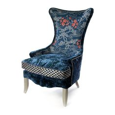 Wingback Accent Chair, Wing Chair, Rhapsody In Blue, Toss Pillows, Japanese Kimono, Design Consultant, Blue Fabric, Solid Wood, Floral Prints