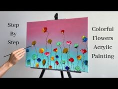 Colorful Flowers Easy Acrylic Painting   Step by Step