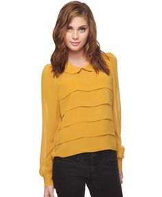 Mustard peter pan with pleats! So getting!
