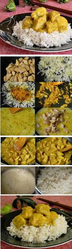 Chicken with coconut milk and curry Curry Recipes, Beef Recipes, Chicken Recipes, Cooking Recipes, Coconut Milk Chicken, Curry Food, Weird Food, Supper Recipes, Cookbook Recipes
