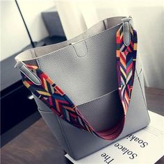 iCeinnight | Bucket Shoulder Bag with Geometric Colorful Strap