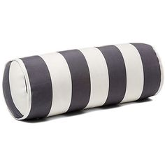 Cabana Stripe 8x20 Outdoor Bolster Pillow Gray Decorative Pillows (€52) ❤ liked on Polyvore featuring home, outdoors, outdoor decor, outdoor garden decor, outside garden decor, outdoor bolster pillow and outdoor patio decor