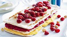 Raspberry & mango sorbets in between macadamia meringues - Xmas dessert?