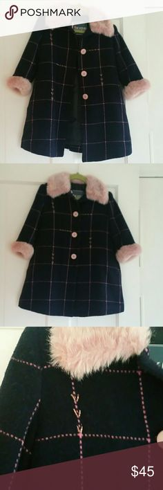Kids coat Navy and Dusty pink coat with faux fur around the neck and hands with slight beading throughout ikids Jackets & Coats