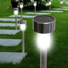 12-Pack: Elegant Stainless Steel Solar Garden Lights