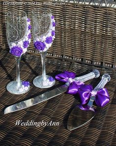 Hey, I found this really awesome Etsy listing at https://www.etsy.com/listing/187857295/purple-wedding-glasses-wedding-champagne