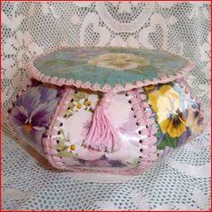 Pink Box Greeting Card Box, Vintage Greeting Cards, Crochet Box, Vintage Crochet, Cardboard Crafts, Fabric Crafts, Hexagon Box, Card Basket, Basket Crafts