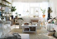 The Benefit of Using Small Living Room Ideas for Small House: Enchanting Center Small Living Room Interior Ikea Room Design Ideas With White Sofa Sets Also Coffee Table And Fur Rugs Along With Pendant Lamps ~ workdon.com Living Room Inspiration