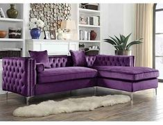 Shop for Chic Home Monet Silvertone Velvet Button-tufted Left-facing Sectional. Get free delivery On EVERYTHING* Overstock - Your Online Furniture Shop! Get in rewards with Club O! Purple Living Room Furniture, Living Room Decor Colors, My Living Room, Home Furniture, Purple Living Rooms, Antique Furniture, Bedroom Furniture, Modern Furniture, Furniture Design