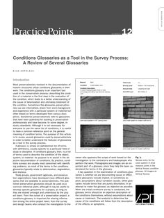 "APT Bulletin - Practice Point  No. 12 ""Conditions Glossaries as a Tool in the Survey Process: A Review of Several Glossaries"" By: Evan Kopelson"