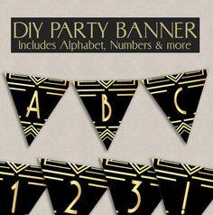 Printable DIY Bunting, Gatsby style 1920s Bunting - full alphabet/bunting