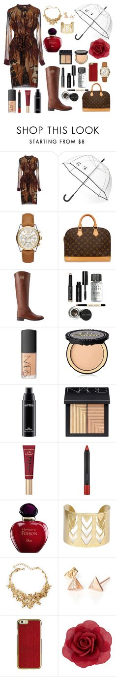 """""""Brown & Red"""" by adellx ❤ liked on Polyvore featuring Gucci, Kate Spade, Michael Kors, Louis Vuitton, Tory Burch, Bobbi Brown Cosmetics, NARS Cosmetics, Too Faced Cosmetics, MAC Cosmetics and Christian Dior"""