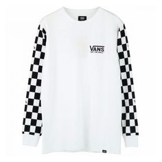 VANS SLEEVE CHECKER L/S T-SHIRTS WHITE ($60) ❤ liked on Polyvore featuring tops, t-shirts, white tee, vans top, vans tee, white cotton tops and white t shirt