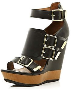 #River Island             #women boots              #Black #chunky #buckle #wedges #wedges #shoes #boots #women                   Black chunky buckle wedges - wedges - shoes / boots - women                                             http://www.seapai.com/product.aspx?PID=228543