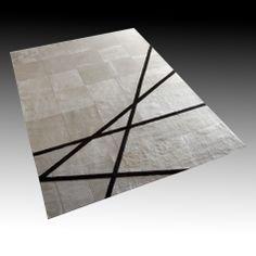 Design: Oslo, Size: 200cm x 280cm, Material: White Cowhide & Brown Lambskin